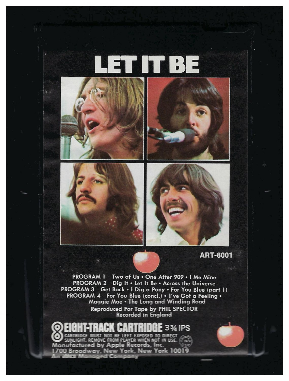 The Beatles - Let It Be 1970 APPLE AC2 8-TRACK TAPE