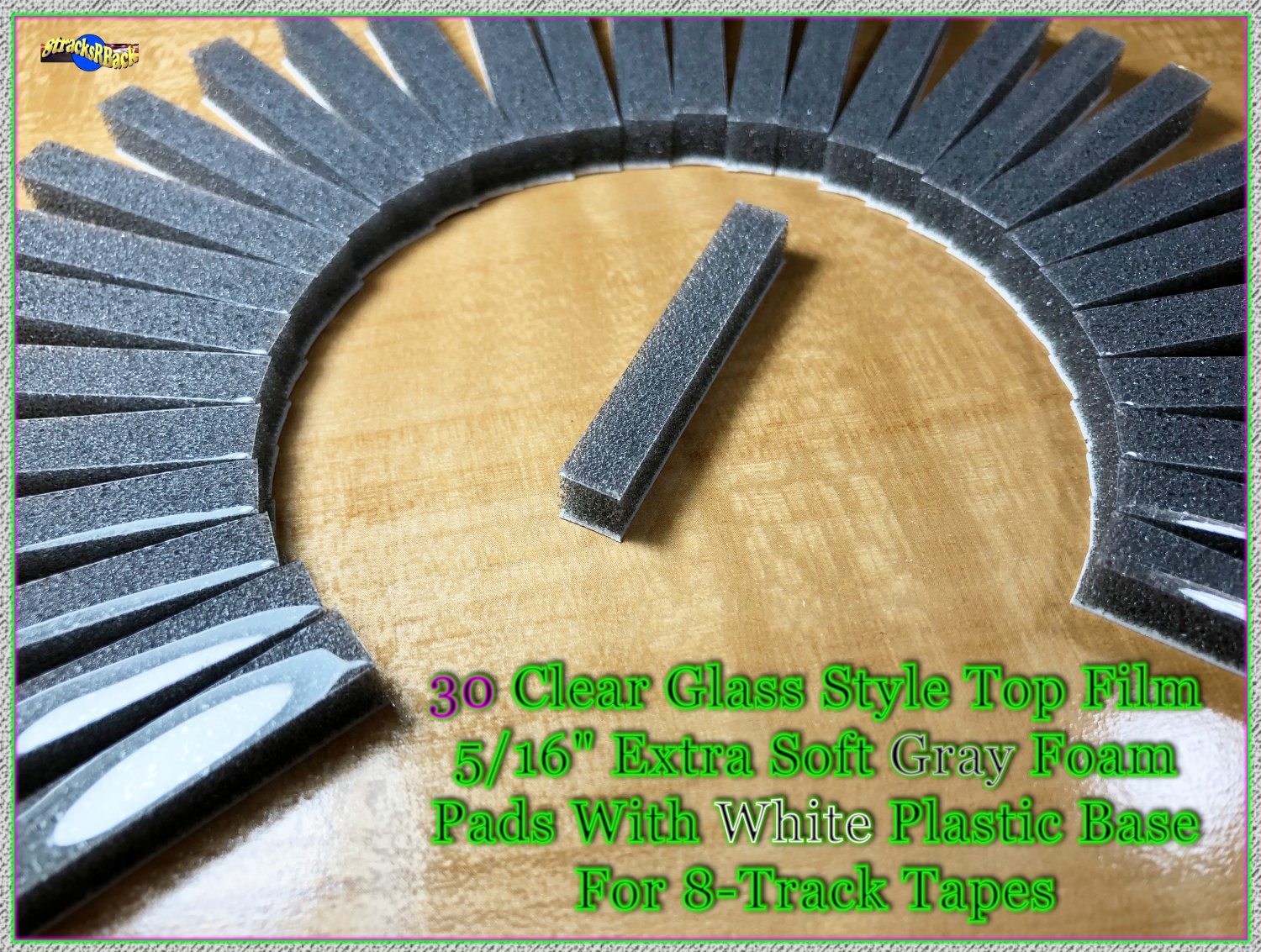 Restore Your Own - 30 Clear Glass Style Top Soft Gray Foam Pads For 8-Track Tape