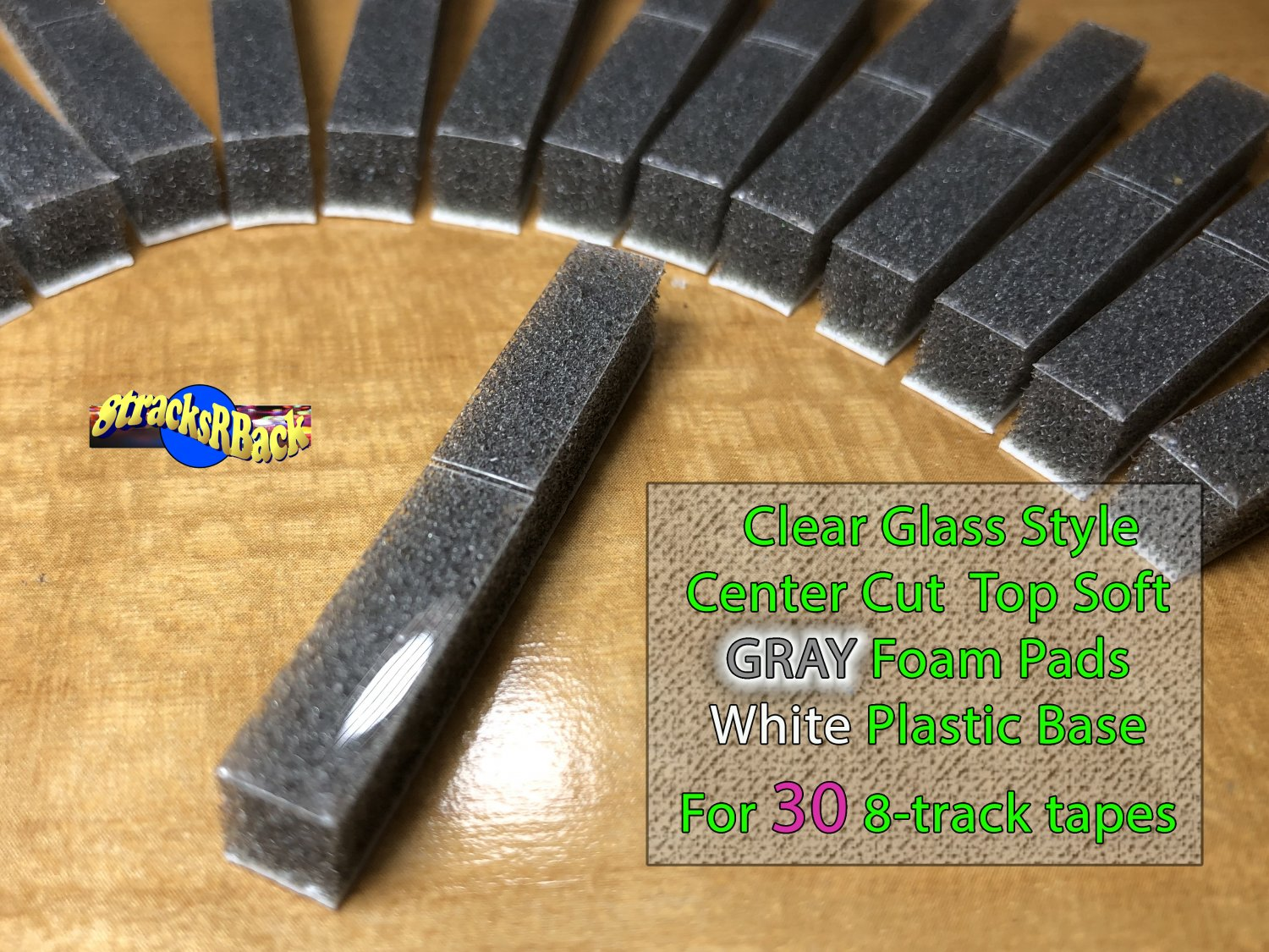 Restore Your Own - 30 Center Cut Clear Glass Style Top Soft Gray Foam Pads For 8-Track Tape