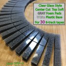30 Center Cut Clear Glass Style Top CHARCOAL Gray Foam Pads For 8-Track Tape