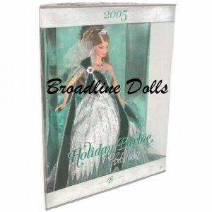 2005 Holiday Barbie in Emerald Green gown designed by Bob Mackie NRFB