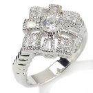 Vintage Design  .59ct Russian Cz Diamonds SS Cross Ring Sz 10