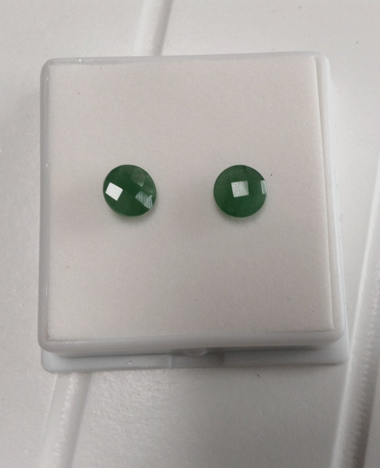 Australian Natural Genuine Chrome Chalcedony 1.25ctw 6mm Round Checkerboard Cut Set Of 2