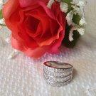1.58ctw Diamond Simulant Band  Sterling Silver Ring Sz 7