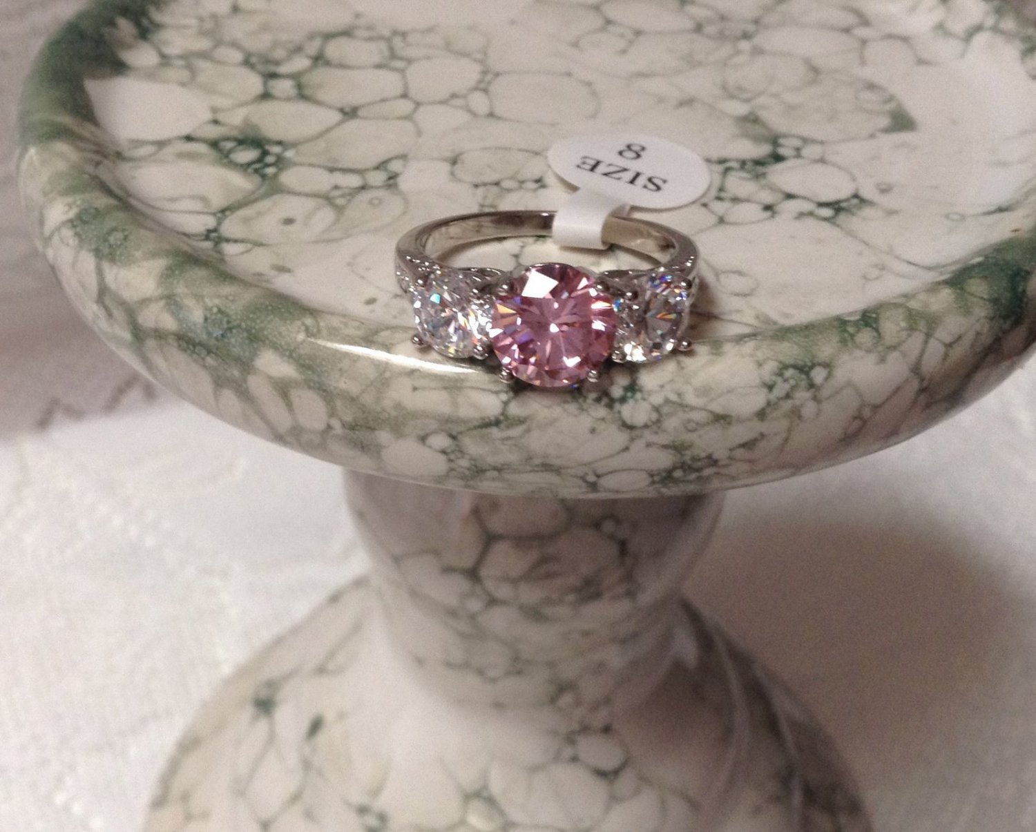 Gorgeous Sparkling Pink & White Topaz Sterling Silver 925 Ring Sz 8
