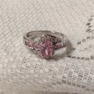 .925  Pink Ice Cocktail Wedding Engagement  Swirl Ring WGP 2cts  Sz 7 New