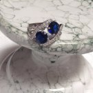 Marvelous Created Blue & White Sapphire SS 925 Ring Sz 8 New