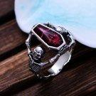 Red Vintage Epoxy Coffin Ring Biker Punk Style Ring Sz  11