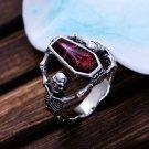 Red Vintage Epoxy Coffin Ring Biker Punk Style Ring Sz  12