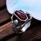 Red Vintage Epoxy Coffin Ring Biker Punk Style Ring Sz  13 New