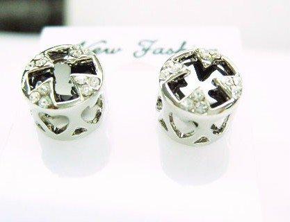 Black Cross Earrings With Swarovski Crystal
