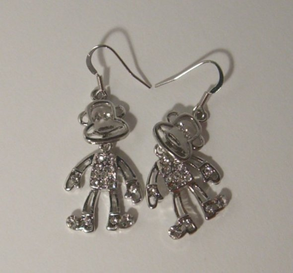Lovely Monkey Earrings With Swarovski Crystal