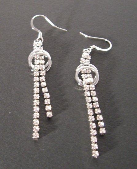 Rhinestone 2-Strand drop + twin circle Earrings -- Silver Tone