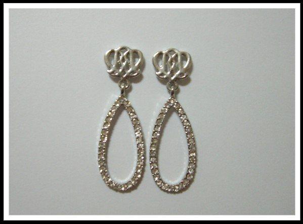 E28 Rose Drop Earrings With Czech Rhinestone
