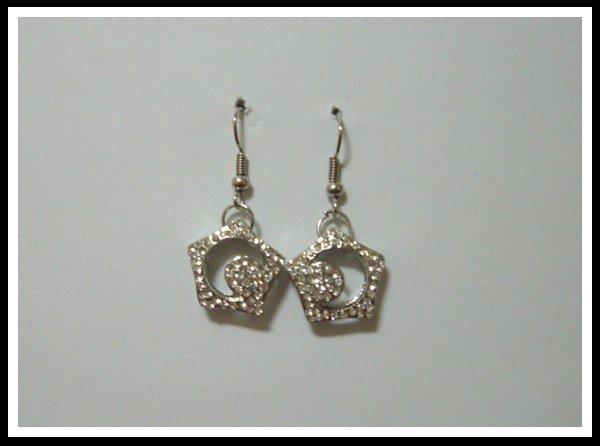 E37 Sparkle Pentagonal Earrings With Rhinestone