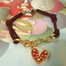 Love Knots + Real Heart  Suede Bracelets (Hand-Made) Unique Design