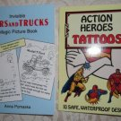 Paperback - Two Book Set Invisible Cars and Trucks Magic Picture Book and Action Heroes Tattoos