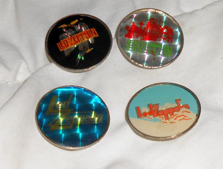 Led Zeppelin enamel pinback lot of ( 4 ) *Original* 1980's button