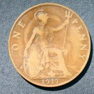 1917 ONE PENNY GREAT BRITAIN King George