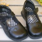 Girls Black Leather-like Dress Shoes Smart Fit Size 7
