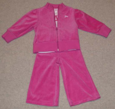 """Bright Pink Velour 3 Piece Outfit """"Baby Gap"""" Size 3T"""
