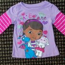 "Long-Sleeve Top Doc McStuffins ""Share the Care""  Striped Sleeves 2T"