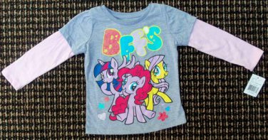 """Long-Sleeved Shirt Gray with Pink Sleeves""""My Little Pony BFFS"""" 2T"""