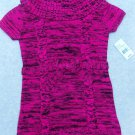 Girl's Cowl Neck Sweater Short Sleeves Hot Pink/Black