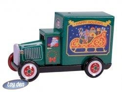 PENNY TOY-SANTA CLAUS IN TIN TRUCK ORNAMENT