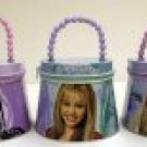 HANNAH MONTANA TIN ZIPPERED TOTE with BEADED HANDLE
