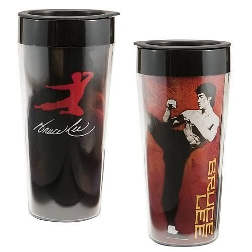 BRUCE LEE, 16-Ounce PLASTIC MULITCOLORED TRAVEL MUG by Vandor