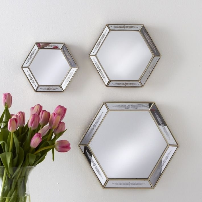 TRIOMPHE SET OF 3 OCTAGON WALL MIRRORS WITH SILVER ACCENT