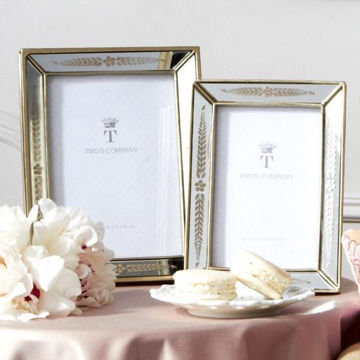 TRIOMPHE SET OF 2 MIRRORED PHOTO FRAMES WITH SILVER ACCENT