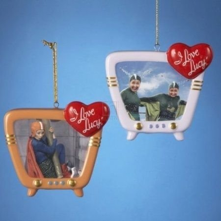I LOVE LUCY - SET OF 2 PIECES TV STYLE ORNAMENTS