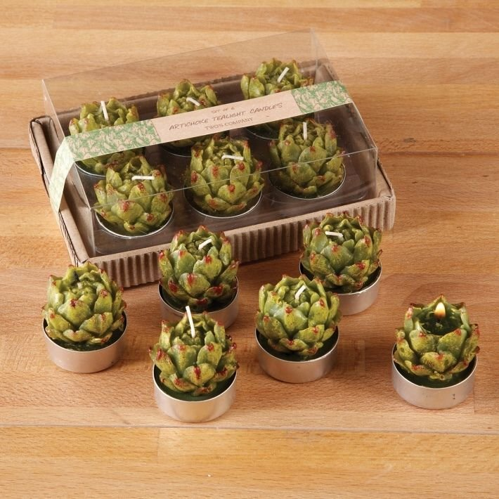 SET OF 6 ARTICHOKE TEALIGHT CANDLES ABT 4 HOURS UNSCENTED WAX IN GIFT BOX