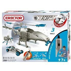 Erector Speed Play Motorized Helicopter, Builds 3 models