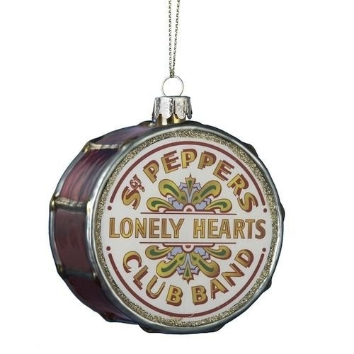 BEATLES SGT PEPPER LONELY HEARTS CLUB BAND DRUM GLASS ORNAMENT