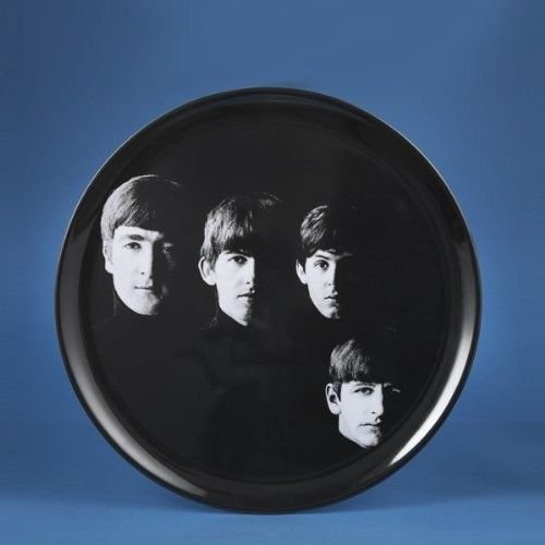 """Beatles Black And White Faces 14"""" Round Tray by Kurt Adler"""