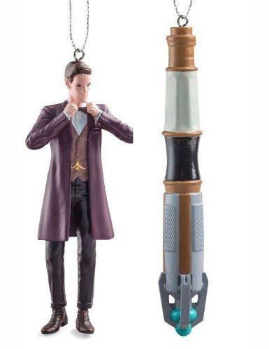 DOCTOR WHO DOCTOR & SONIC SCREWDRIVER BOXED SET OF 2 PIECES ORNAMENTS