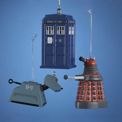 DOCTOR WHO SET OF 3 PIECES: TARDIS, RED DALEK, & K-9 ORNAMENTS