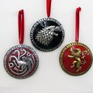 GAME OF THRONES SET OF 3 METALLIC SHIELD ORNAMENTS