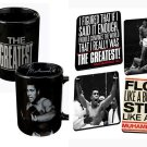 MUHAMMAD ALI SET OF 4 PIECES 20 OUNCE BLACK MUGS AND ONE SET OF 4 COASTERS