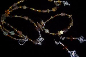 Earth Tone Jewelry Set w/ silver & Crystal detail