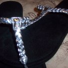 Silver Braided Thong Sandals Size 8