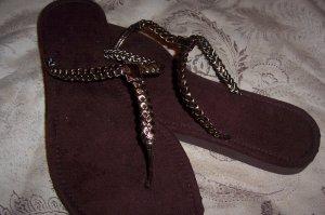 Bronze Braided Thong Sandals