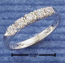 5 Stone Cz Anniverary Ring