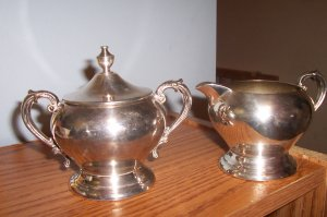 Silver creamer and sugar bowl