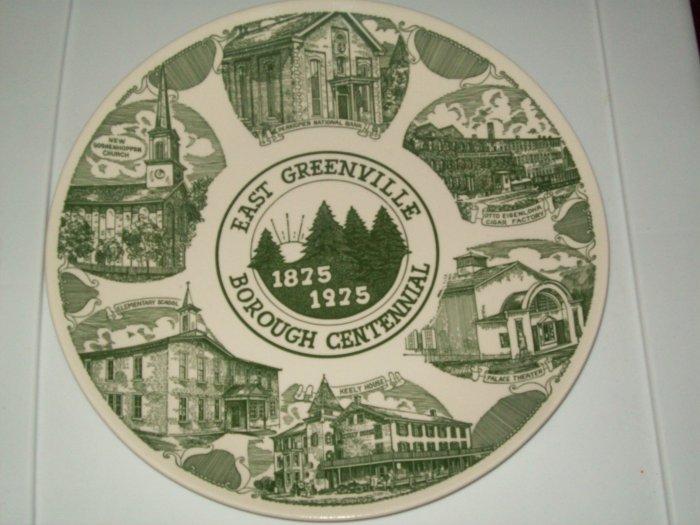East Greenville Borough Centennial 1875 1975 Green White Commerative Plate