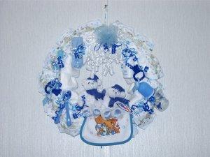 Baby Blue Diaper Wreath#001