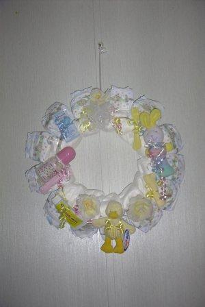Pink/Yellow Baby  Diaper Wreath #004